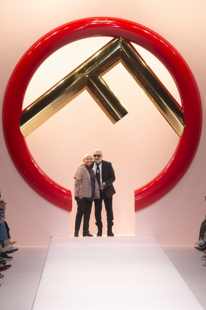 Sivia Venturini Fendi and Karl Lagerfeld