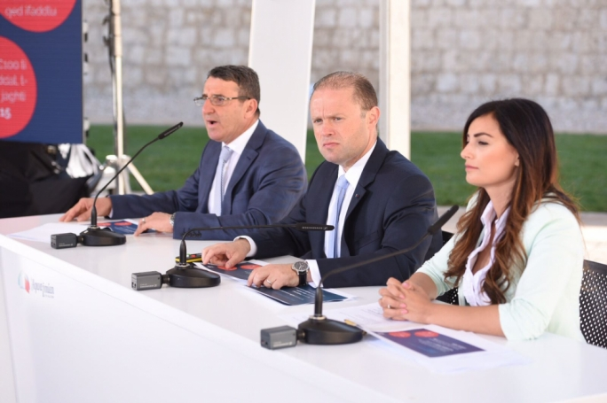 Prime Minister and Labour Party leader Joseph Muscat addresses a press conference with PL MP Silvio Parnis and candidate Rosianne Cutajar. Photo: James Bianchi/MediaToday
