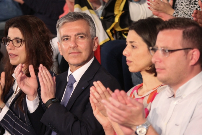 Simon Busuttil and his partner Kristina Chetcuti at a PN political activity in Ghajnsielem