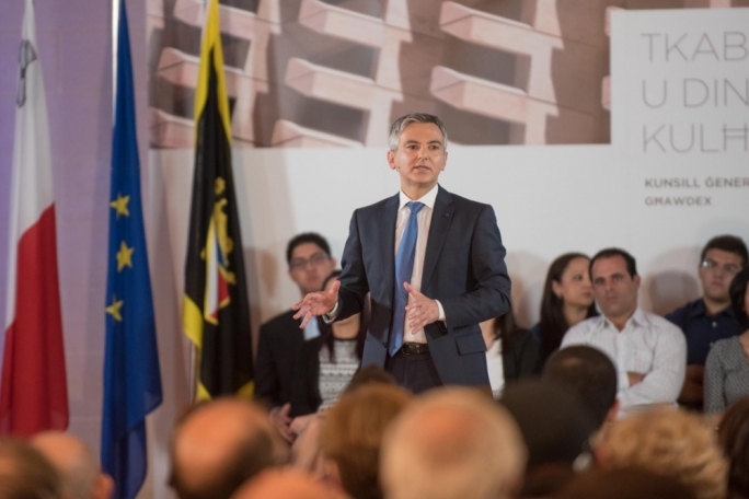 PN leader Simon Busuttil addressing the party's general council in San Lawrenz, Gozo