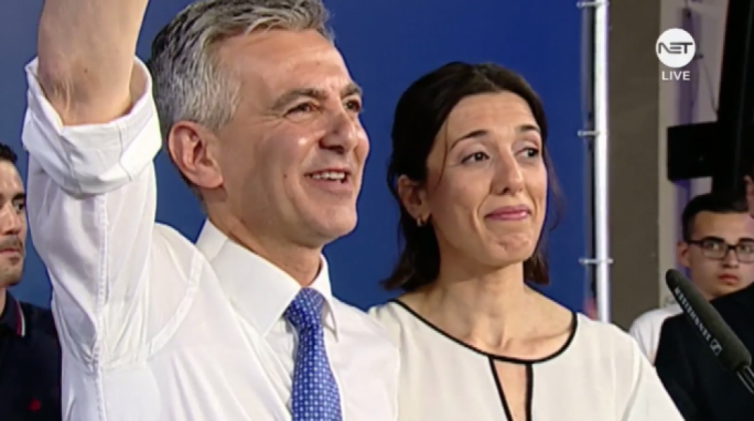 Simon Busuttil was joined on stage by his partner Kristina who he thanked for