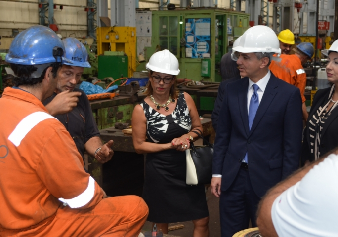 Dr Simon Busuttil and Dr Ann Fenech during this morning's visit to Palumbo shipyard
