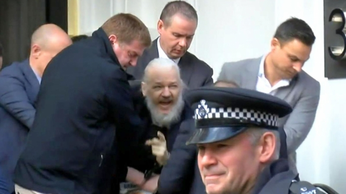 WikiLeaks founder Julian Assange arrested at the Ecuadorian embassy in London
