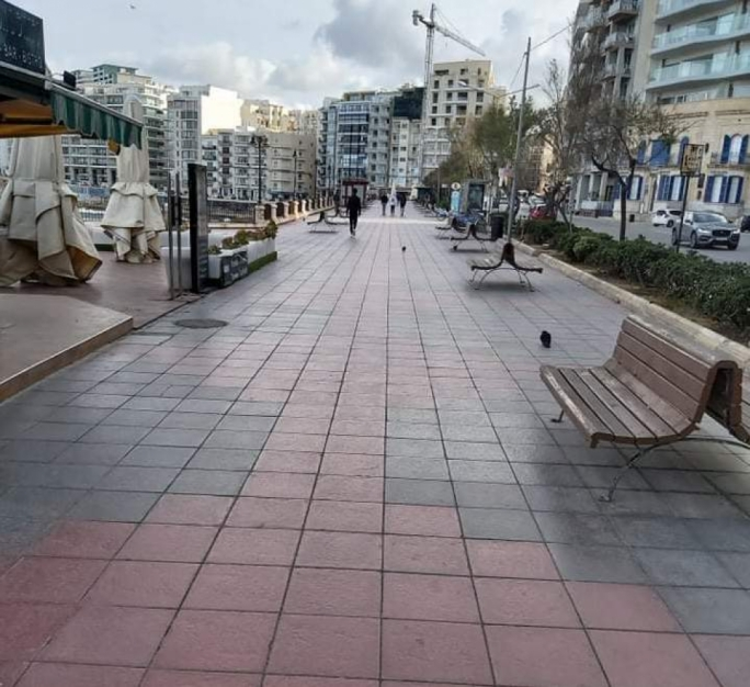 The Sliema promenade after the police dispersed people gathered on benches there