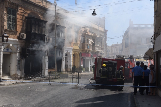 A pharmacy in Rudolph Street Sliema was engulfed by flames this morning