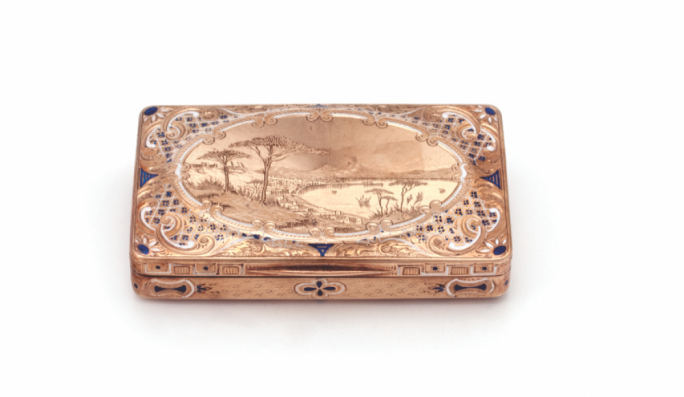 Snuff box with scene of Vesuvius and the Bay of Naples, Gold, Enamel, probably Italy, 19th century