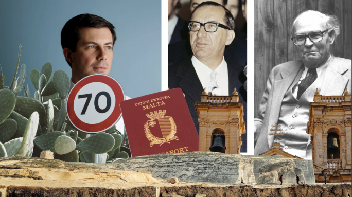 From left to right: Maltese-American politician Pete Buttigieg, Maltese political giant and firebrand Dom Mintoff, and author of the Law Of The Sea, Arvid Pardo