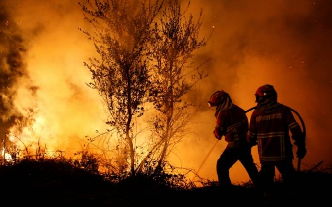 Firefighters work to extinguish flames from a forest fire in Cabanoes near Lousa, Portugal (Photo: BD News 24)