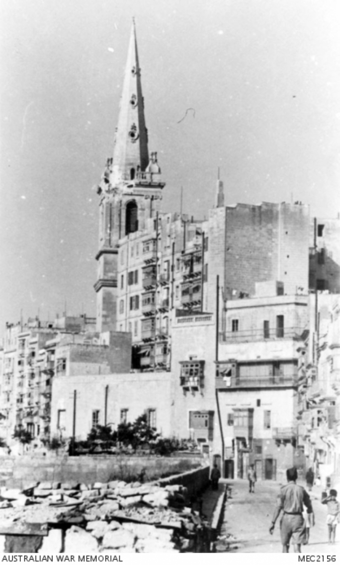 Photos of the pro-cathedral taken in 1943 show damage the building sustained in the war (Source: Australian War Memorial)