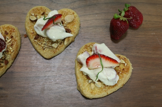 Almond shortcakes with strawberry rippled cream
