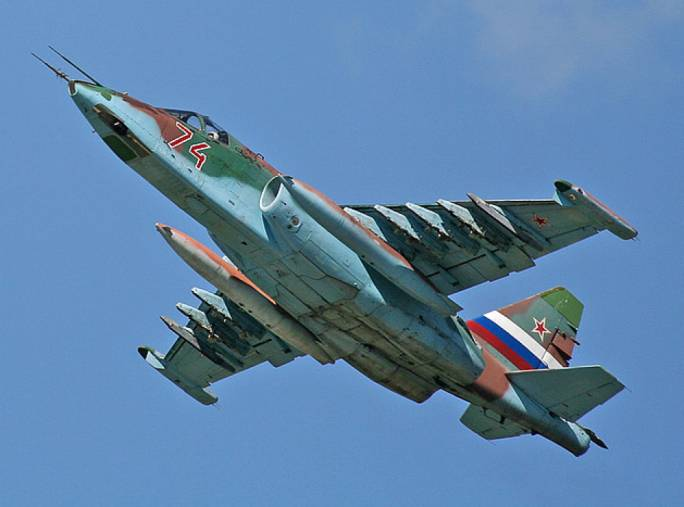 Russian Sukhoi 25 fighter jet