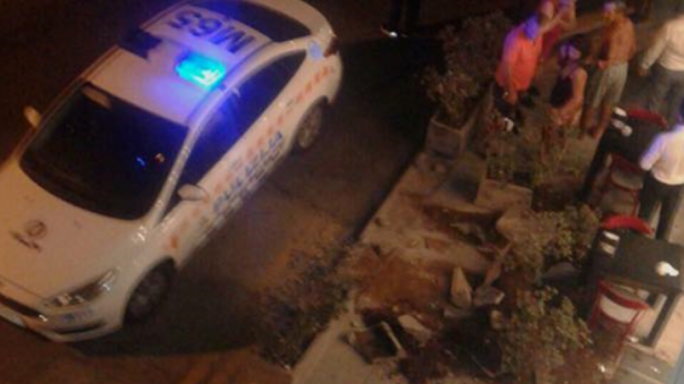 Drunk-driver stopped by cement pots from hitting pedestrians by Swieqi cafe