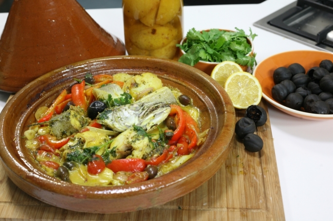 Hake tagine with preserved lemons