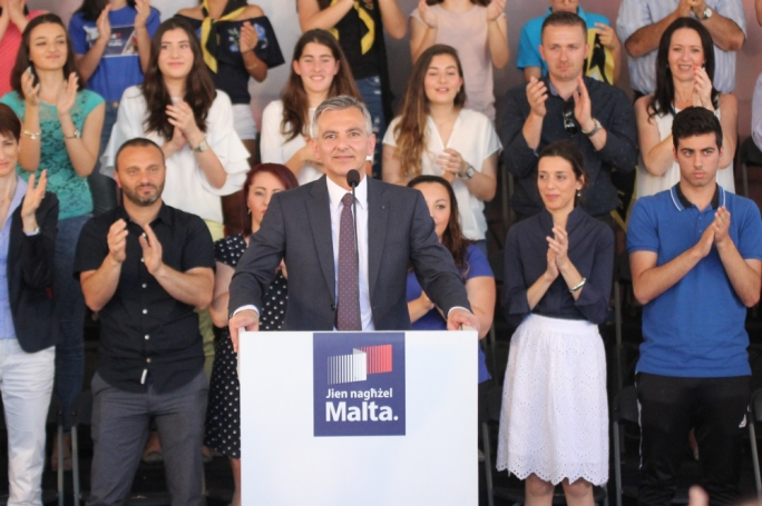 Simon Busuttil addresses a political activity in Mellieha