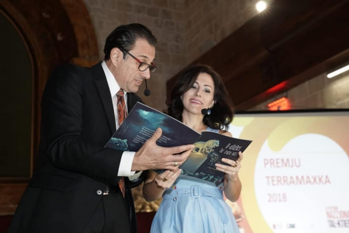 The Terramaxka prize was presented by actress Antonella Axisa (right) seen here with actor Mike Basmadjan