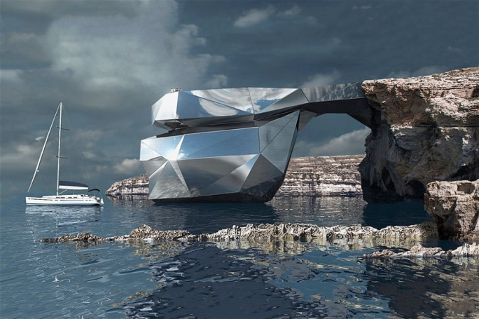 The Azure Window mirrored steel replica proposed by Russian archi-star Svetozar Andreev