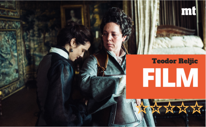 Olivia Colman (right) is Queen Anne and Rachel Weisz is the Duchess of Marlborough in The Favourite