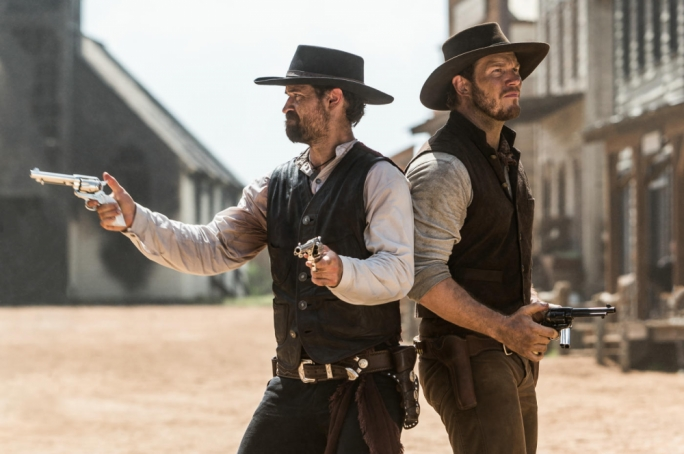 Manuel Garcia-Rulfo and Chris Pratt help out a band of desperate villagers in Antoine Fuqua's remake-of-a-remake
