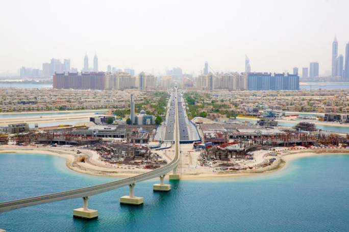 The Palm Jumeirah project in Dubai, one of the world's grandest land reclamation projects