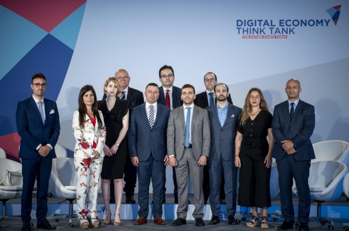 Parliamentary secretary Clayton Bartolo (fifthe from left) with the members of the newly-formed Digital Economy Think Tank