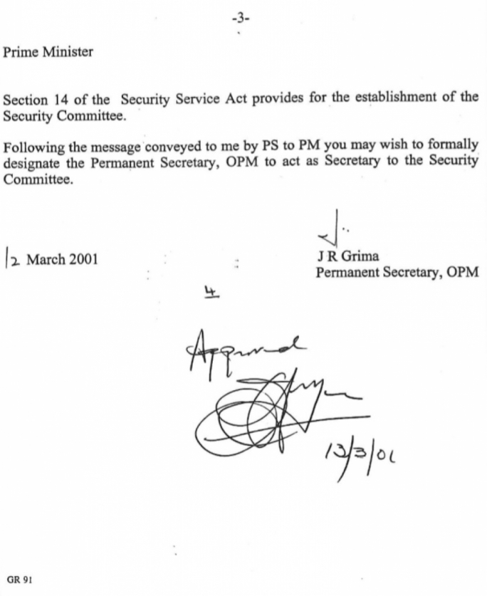 The note released by the office of the permanent secretary, showing Fenech Adami's approval for the principal permanent secretary to act as secretary to the security committee