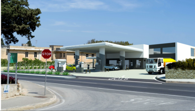 Photomontage of ODZ petrol station on 3000 sq,m of agricultural land approved in Luqa last year after relocation of minuscule Savoy petrol station in Sliema whose license has now been bought by Bilom