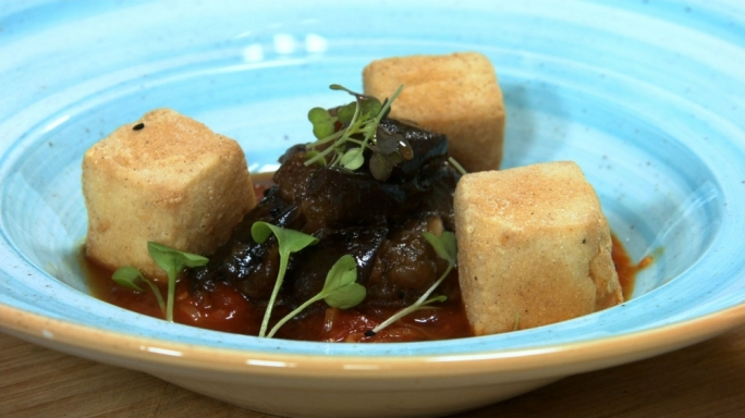 Spiced tofu with aubergine and oriental tomato sauce