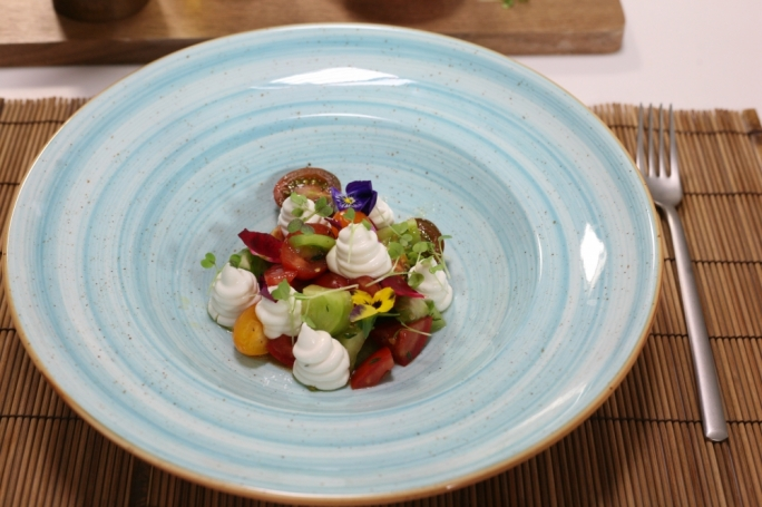 Heirloom tomato salad with goat cheese mousse