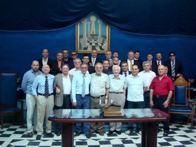 A meeting of friends: freemasons in Malta posing for picture posted on the internet. Notice any friends, apart from Tony Debono (third from left, front row)?