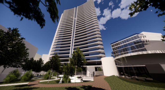 New plans submitted by the Townsquare developers propose reducing the tower's height by 37 metres