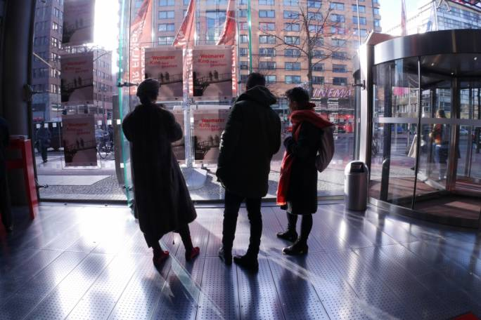 Part of the Goethe Institut delegation on a trip to the Filmhaus museum space at Potsdamer Platz