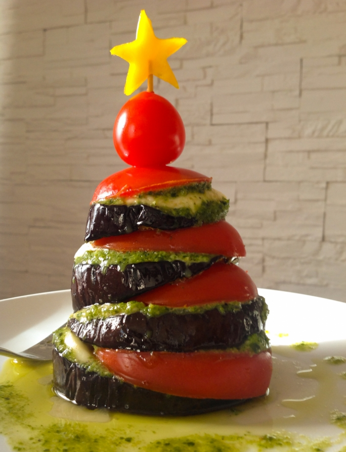 Christmas tree aubergine stack