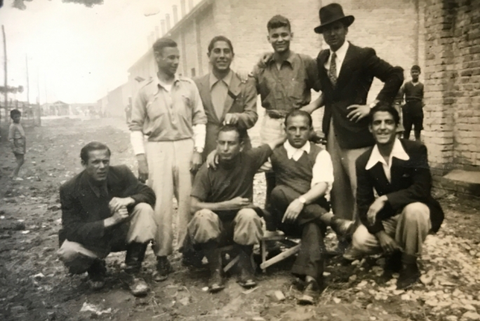 Evacuated from Fraschette in 1944, the Maltese migrants were taken to Fossoli. Romeo Cini stands second from right