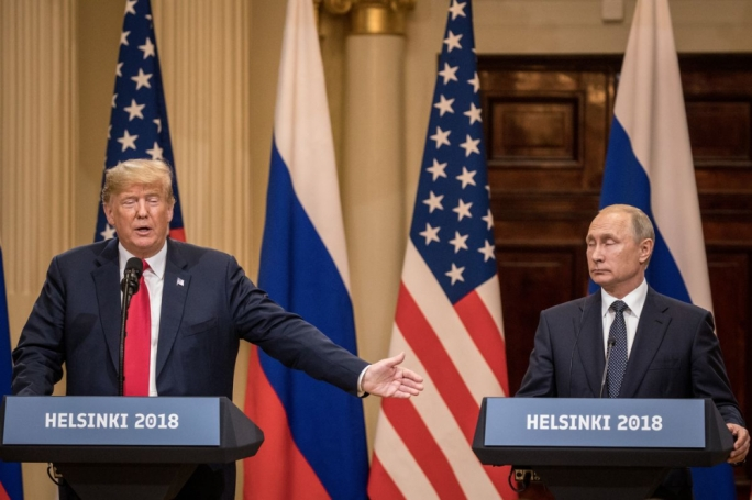 Trump and Putin during a joint appearance in Helsinki
