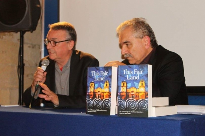 British publisher Clive Boutle (left) giving a speech on 'This Fair Land' alongside the anthology's editor Prof. Charles Briffa