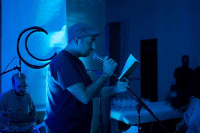 Antoine Cassar reading from his collection Erbghin Jum during its launch performance at Studio Solipsis, Rabat on December 30