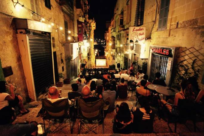 Triq Cinemoon brings film enthusiasts together on the stairs of St John's Street, Valletta