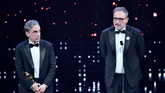 Grassadonia and Piazza accepting the Donatello award for Best Adapted Screenplay last January