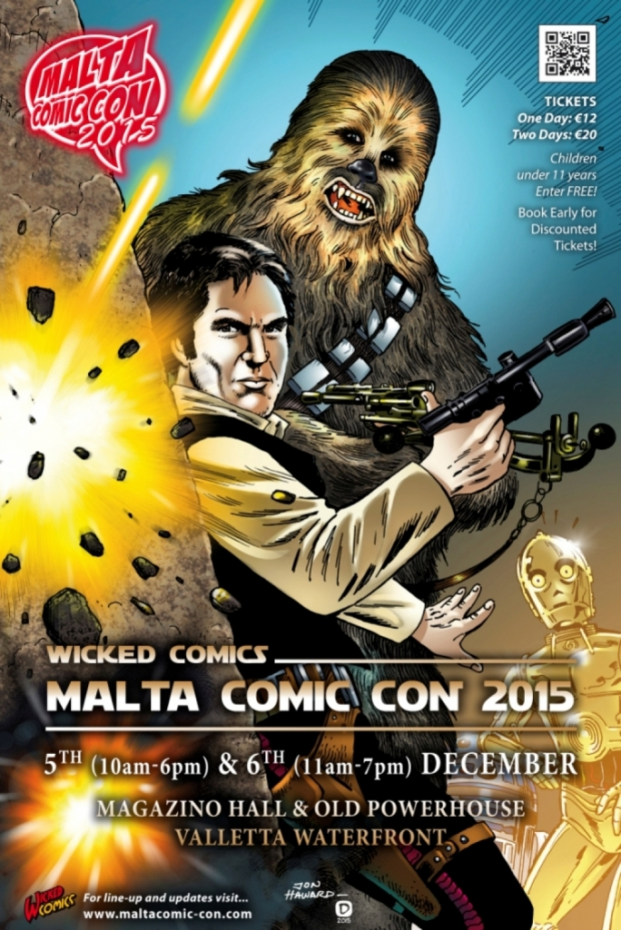 Malta Comic Con 2015 poster • Art by Jon Haward