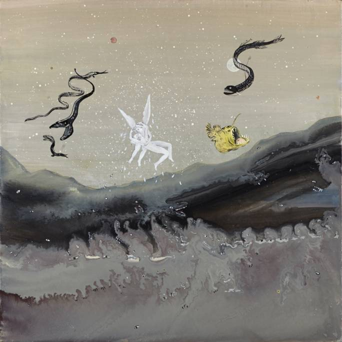 Psyché and Cupidon by Karine Rougier (Oil on panel, 30x30cm, 2017)