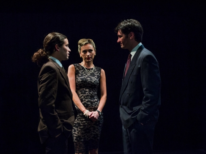 Left to right: Philip Leone-Ganado, Julia Calvert and Malcolm Galea in The Pride