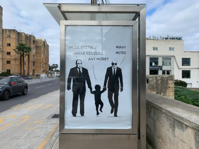 'Uncle Silvio' and accused mastermind Yorgen Fenech in bus shelter ad campaign