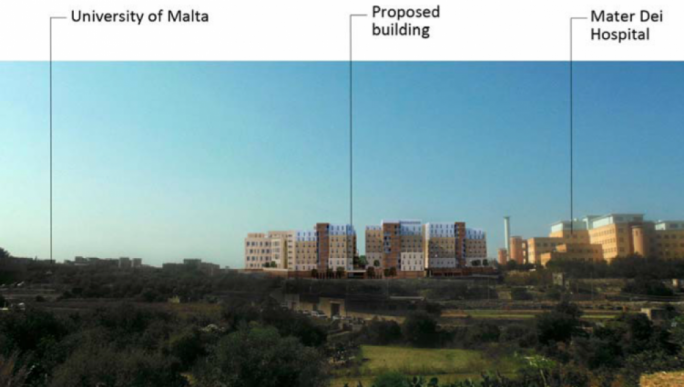 A photomontage of the proposed university residence as seen from the San Gwann side in relation to the hospital and the university campus