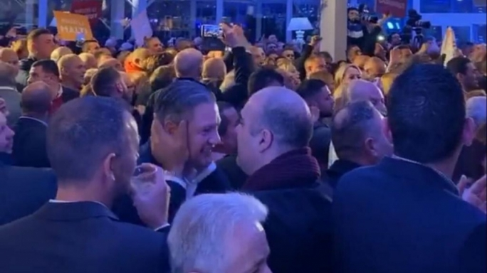 MDA boss Sandro Chetcuti embracing former Tourism Minister Konrad Mizzi at Chris Fearne's last campaign rally at Villa Arrigo