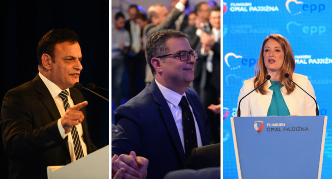 Nationalist MEP David Casa, PN leader Adrian Delia, Nationalist MEP Roberta Metsola