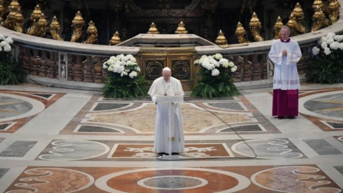 Pope Francis delivered his Urbi et Orbi message to an almost empty St Peter's Basilica