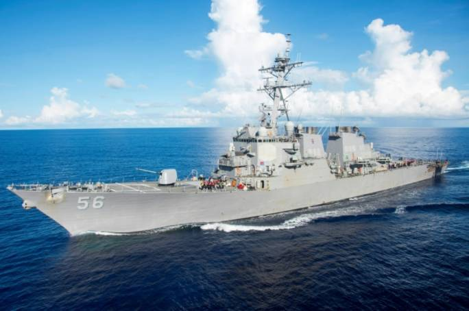 The guided-missile destroyer USS John S McCain is seen after a collision, off Johor, Malaysia
