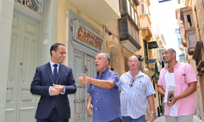 Valletta 2018 Foundation Chairman Jason Micallef with George Cini, John Finley and Joshua Terry during a recent walkabout in Strait Street • Photo by Chris Mangion