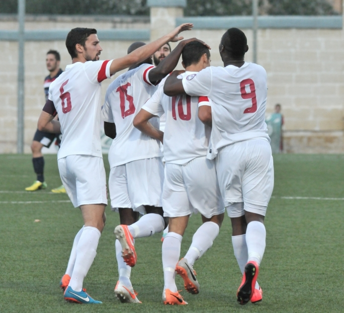 Valletta players celebrate their goal. Photo by Chris Mangion