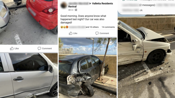 Valletta residents wake up to find cars destroyed and crashed into on Marsamxett Road